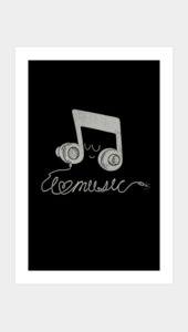 I Love Music (clear graphic) Art Prints