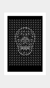 Triangles and Line Art Skull Art Prints
