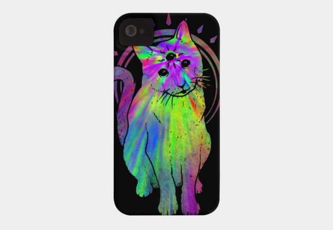 Psychic psychedelic trippy cat Phone Case - Design By Humans