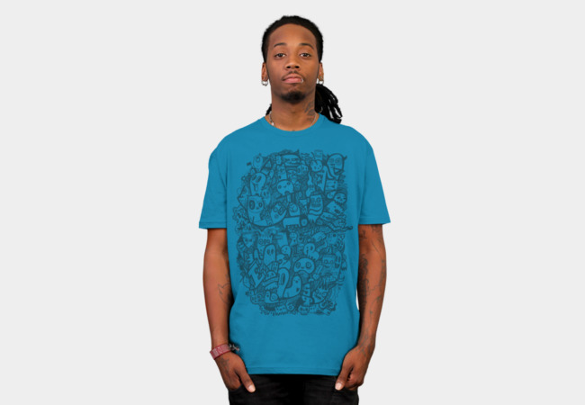 Blue Doodle T-Shirt - Design By Humans