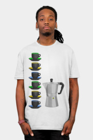 Stove top Espresso Coffee Maker and Cups Pattern
