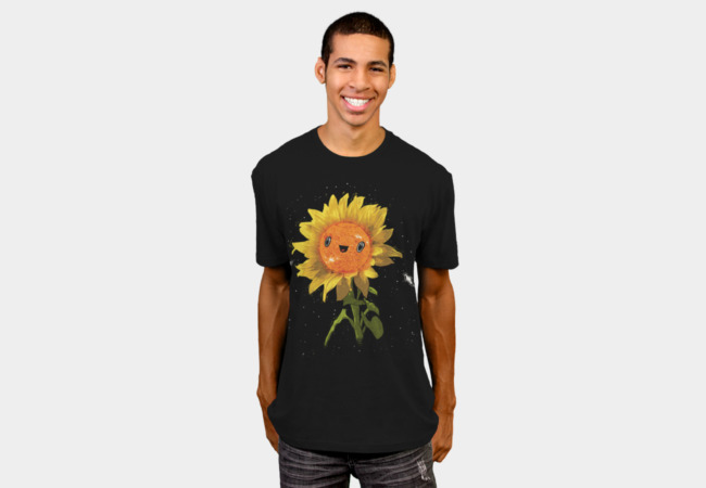 Sunflower In Space T-Shirt - Design By Humans