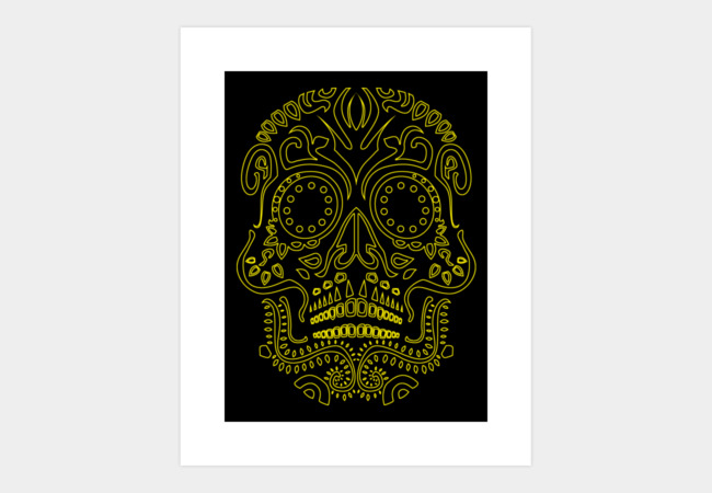 Skull Pattern Yellow Line Art Print - Design By Humans