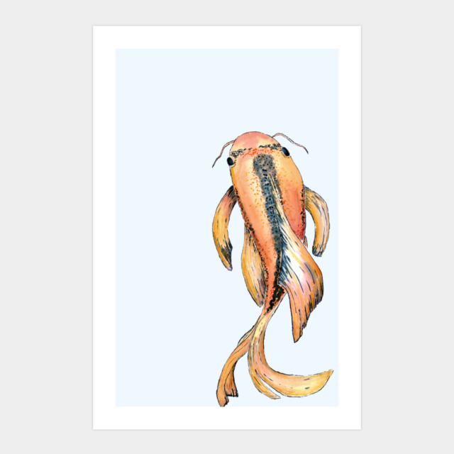 Koi fish art print by tanniesmith design by humans for Koi fish color meaning chart