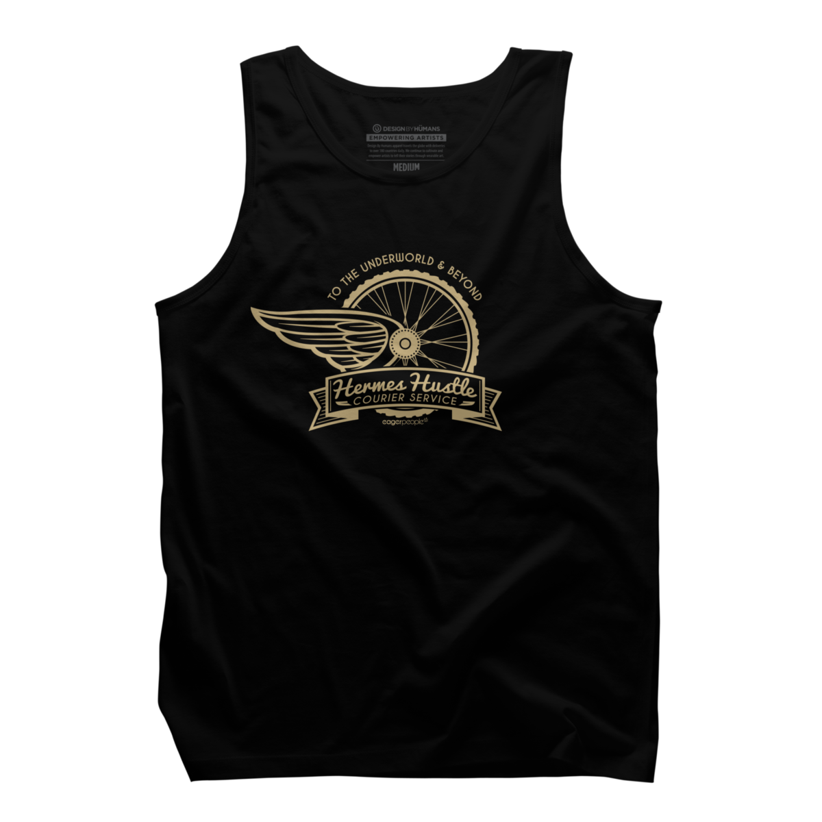 Hermes Hustle Courier Service Men's Tank Top Hermes Hustle Courier Service is a cozy ring spun cotton Black designed by eagerpeople. This tank top design is featured in bicycle, art styles, retro, themes, transportation, typography, vintage designs. Shop DesignByHumans.com for the best selection of cool graphic tees, tank tops, sweatshirts, notebooks, phone cases, and art prints.