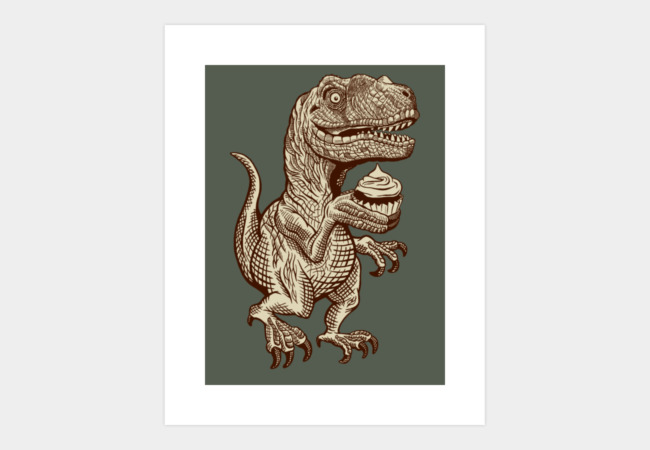 Velociraptors love cupcakes! Art Print - Design By Humans